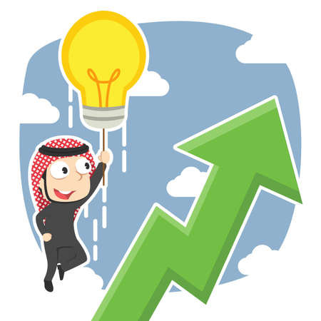 Arabian businessman flying with his idea and see upward graphic Illustration