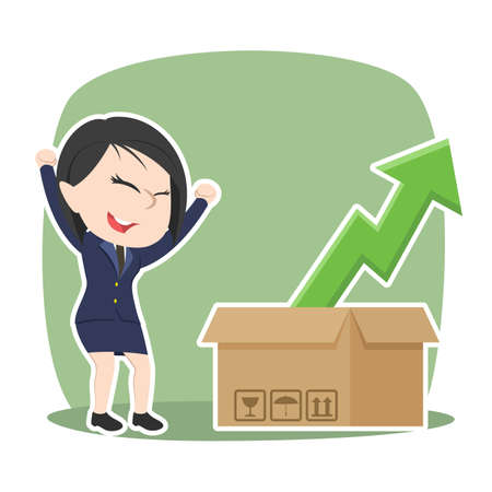 Asian businesswoman happy see upward graph out of the box