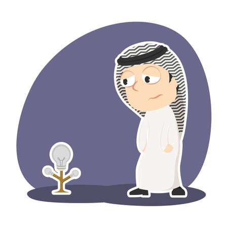 Arabian businessman with dim bulb tree