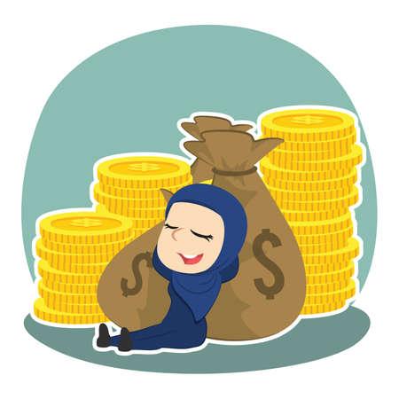 Arabian businesswoman relaxing on money