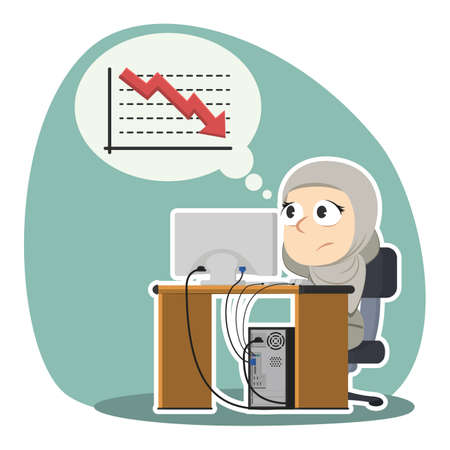 Arabian businesswoman worried thinking about down graph