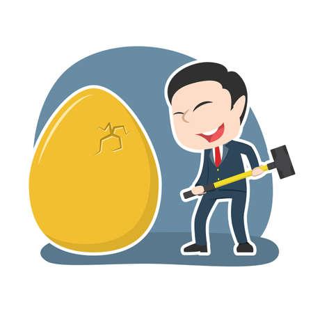 Asian businessman want to break his golden eggs