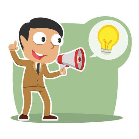 Indian businessman announcing his idea vector illustration Vectores
