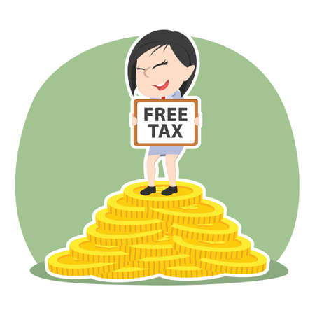 Asian businesswoman holding free tax sign on pile of coins.