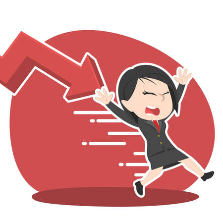 Asian businesswoman being chased by down graph illustration.