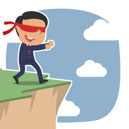 Indian blindfolded businessman walking to cliff edge illustration.