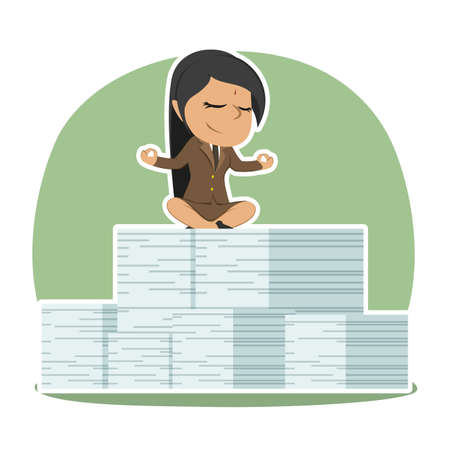 Indian businesswoman meditating on her document task stacks Vectores