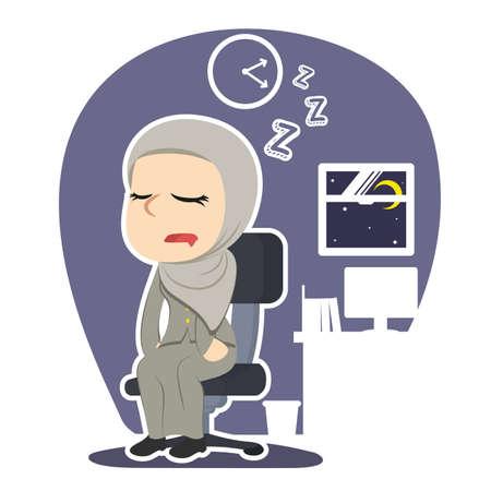 ●アラビアのビジネスウーマンが眠りに落ちるイラストイラストイラスト。