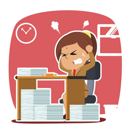 Indian businesswoman stressed out while work. Vetores