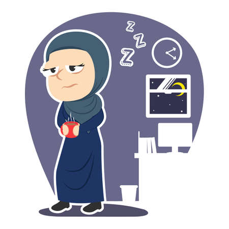 Sleepy Arabian businesswoman holding cup of coffee illustration.