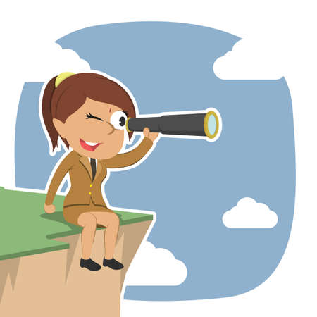 Indian businesswoman sitting on cliff edge and using telescope Illustration