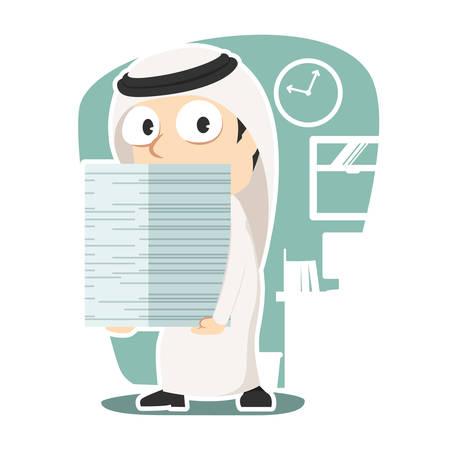 Arabian businessman carrying pile of paper