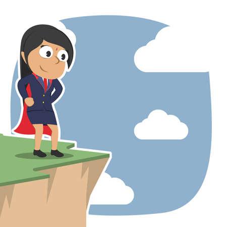 Super Indian businesswoman standing on cliff edge illustration.