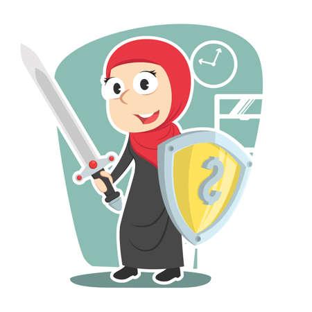 Arabian businesswoman holding money shield and sword Illustration