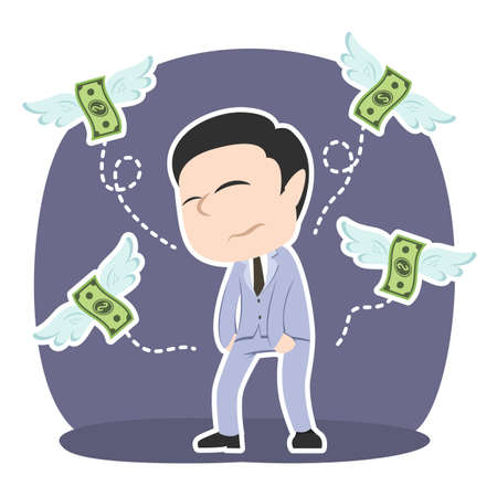 Asian businessman do not have any money illustration. Ilustração