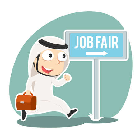 Arabian businessman going to job fair Illustration