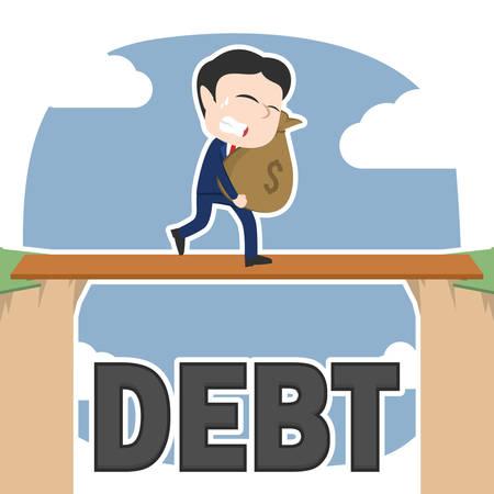 Asian businessman carrying money sack between debt cliff