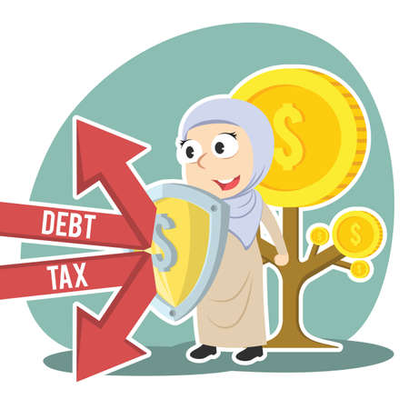 Arabian businesswoman protecting coin tree form debt and tax Illustration