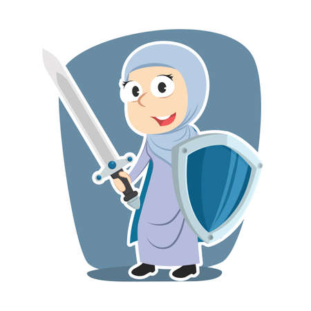 Super arabian businesswoman with sword and shield Illustration