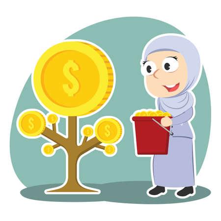 Arabian businesswoman harvesting coin tree illustration.