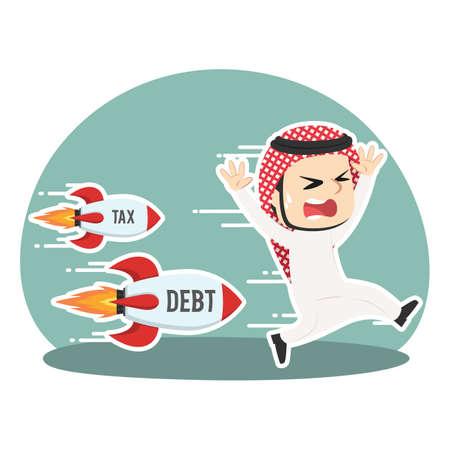 Arabian businessman being chased by tax debt rocket illustration.