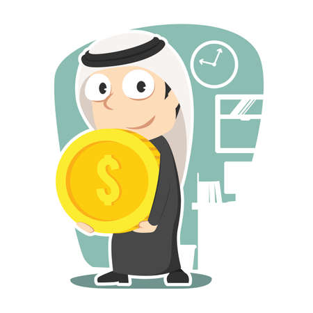 Arabian businessman carrying giant coin illustration.