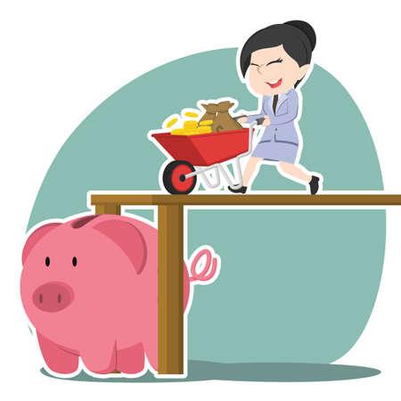 Asian businesswoman pushing wheelbarrow money into piggy bank