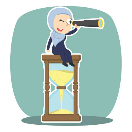 Arabian businesswoman is using binocular on hourglass illustration. Illustration