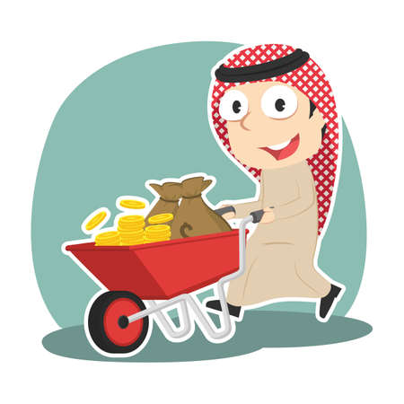 Arabian businessman pushing wheelbarrow full of coins Illustration