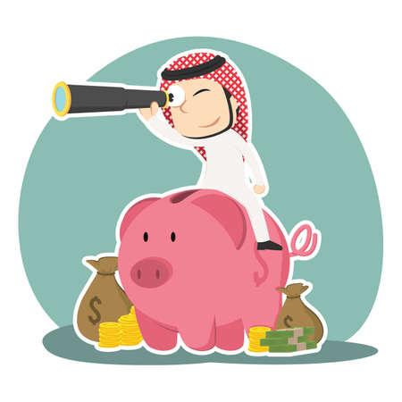 Arabian businessman is using binocular on piggy bank