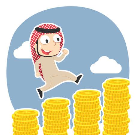 Arabian businessman running on coins