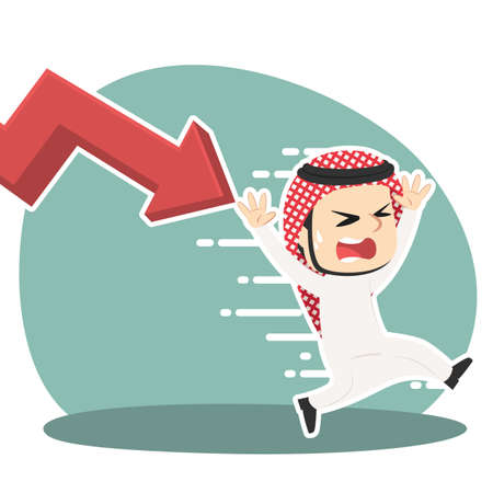 Arabian businessman being chased by down graph