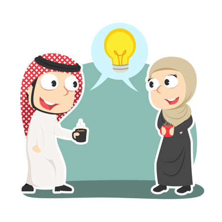 Arabian business couple discussing idea