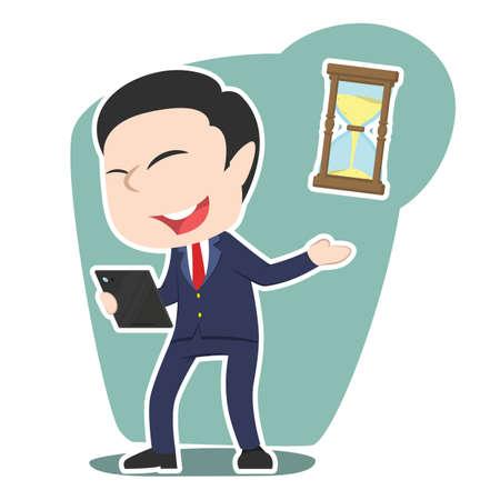 Asian businessman presenting hourglass Illustration