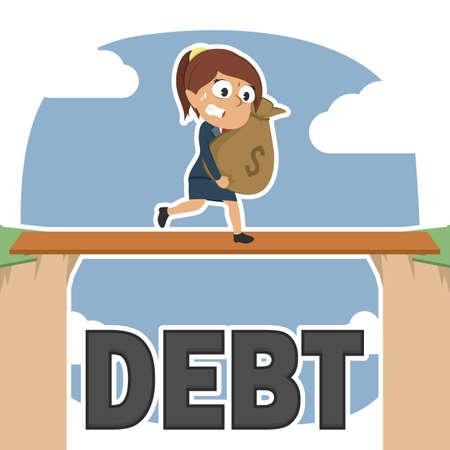 Businesswoman carrying money sack between debt cliff. Vektorové ilustrace