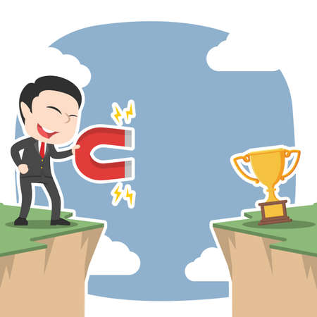 Asian businessman attract trophy from other side of cliff