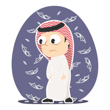 Tired arabian businessman dont care about money Illustration