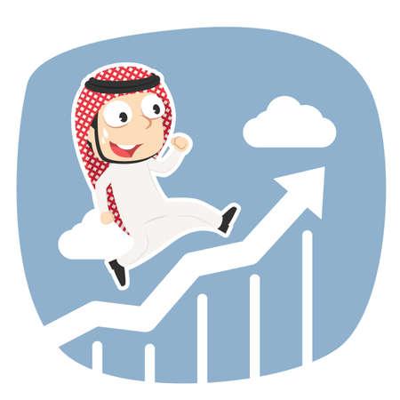 Arabian businessman running on raising graphic