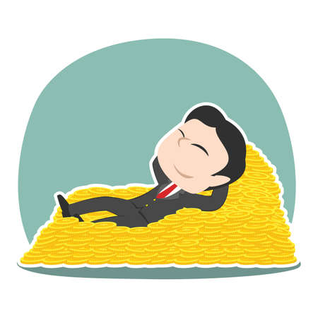 Asian businessman sleeping on coin bed