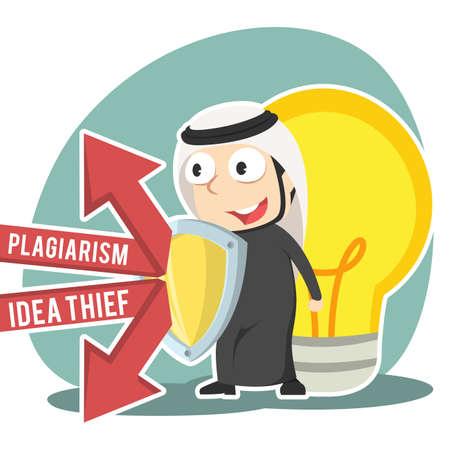 Arabian businessman protecting his idea with shield