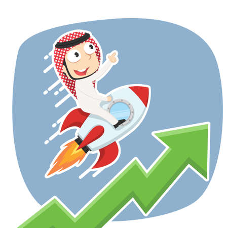Arabian businessman on rocket with raising graph
