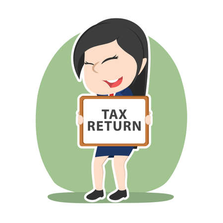 Asian businesswoman holding tax return board sign Illustration