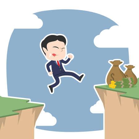 Asian businessman jump over cliff to get moneys