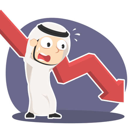 Arabian businessman in panic with down graph