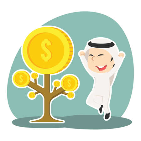 Arabian businessman happy his coin tree grow