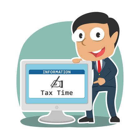 Indian businessman showing tax time in monitor screen