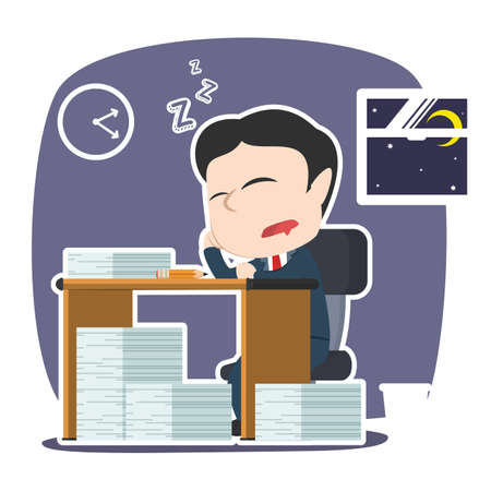 Asian businessman sleeping while work overtime