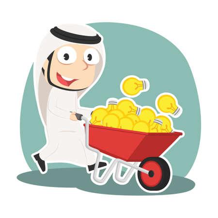 Arabian businessman pushing wheelbarrow full of ideas Illustration