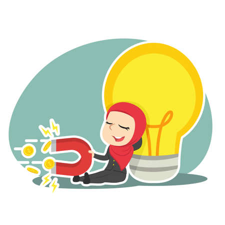 Arabian businesswoman relaxing beside big bulb and pulling coin by magnet