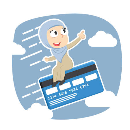Arabian businesswoman fly with credit card Illustration